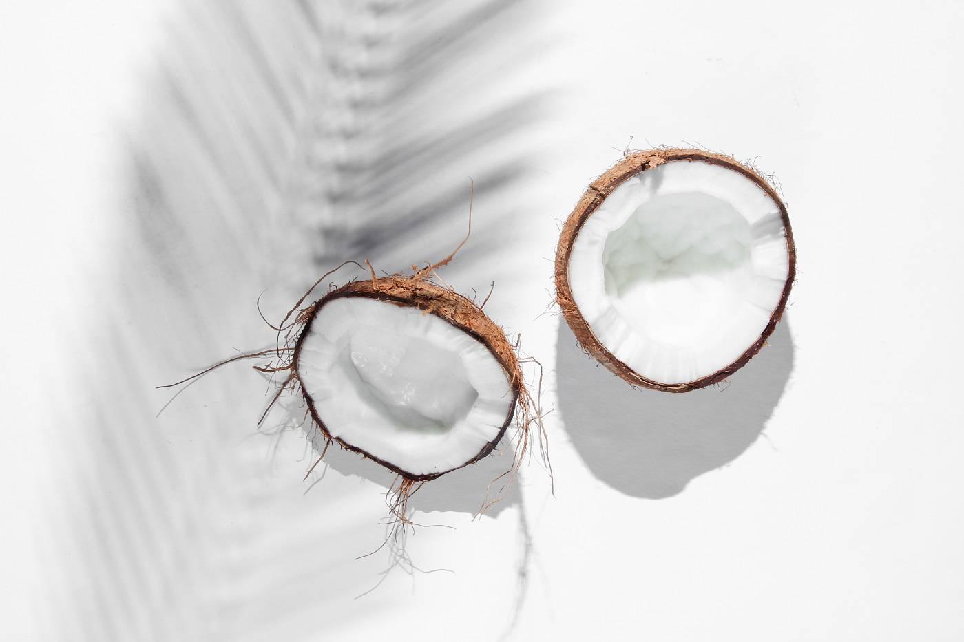 Halves coconut with shadows